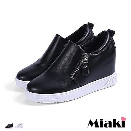 【Miaki】休閒鞋東大時尚亮皮內增高星星拉鍊厚底懶人包鞋 (白色 / 黑色)