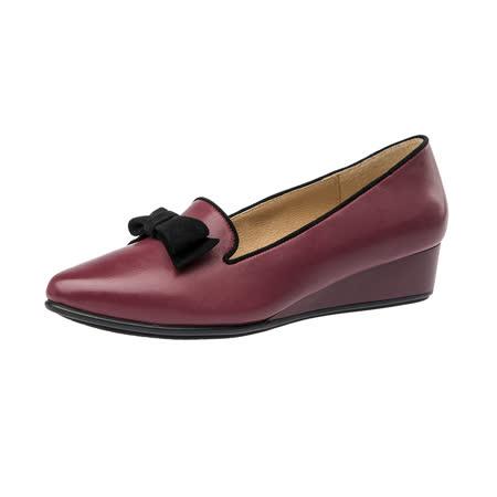 【Kimo德國手工氣墊鞋】飽和色彩蝴蝶結造型尖頭楔型淑女鞋(淺桃紅K16WF095027)
