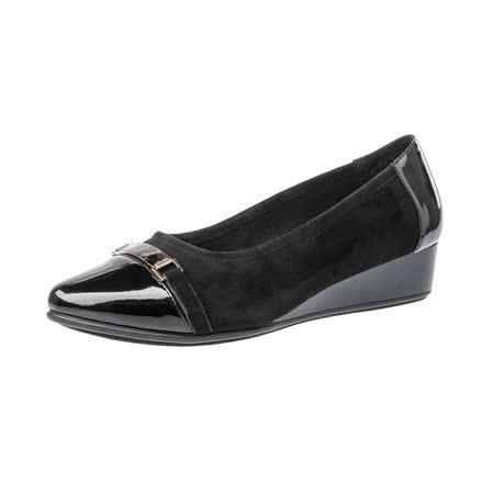 【Kimo德國手工氣墊鞋】麂皮+漆皮金屬飾扣尖頭楔型淑女鞋(暗夜黑K16WF095033)