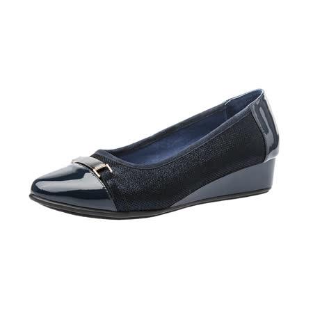 【Kimo德國手工氣墊鞋】質感羊皮+漆皮金屬飾扣尖頭楔型淑女鞋(晶湛藍K16WF095036)