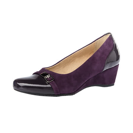 【Kimo德國手工氣墊鞋】雙皮料亮漆皮麂皮優雅風格金屬飾扣楔型鞋(神秘紫K16WF097029)