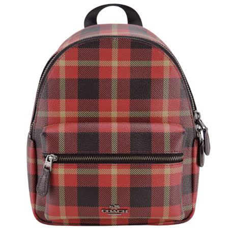 COACH 馬車LOGO格紋PVC拉鍊後背包(紅)