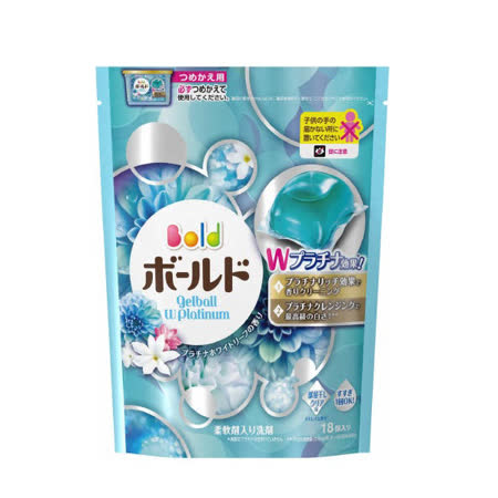 (任選)【日本寶僑P&G】洗衣凝膠球(水藍色-白葉花香)補充包(352g/18顆)
