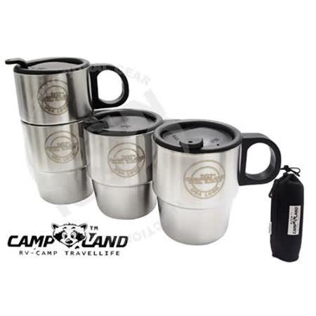 【CAMP-LAND】生活家 四入#304不鏽鋼組合式雙層斷熱咖啡杯組(220cc).斷熱杯/保溫杯/家庭組茶杯RV-ST260 (2組入)