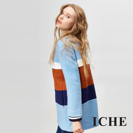 ICHE衣哲 羊毛撞色拼接長版大衣 兩色