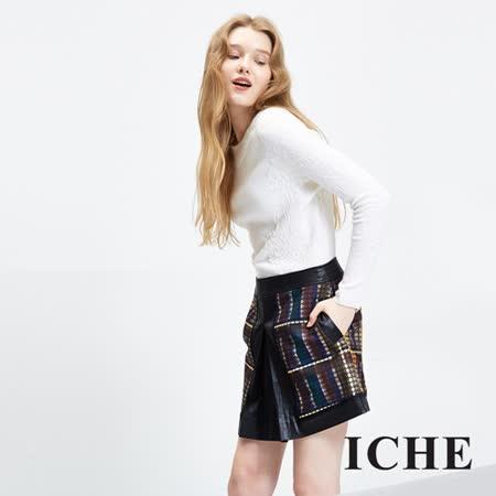 ICHE衣哲 撞色格紋打褶拼接造型短裙