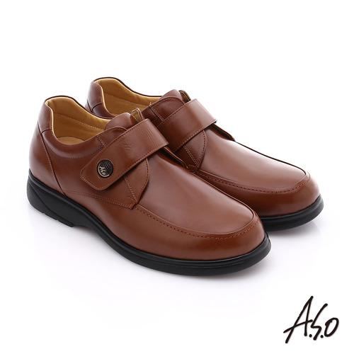 A.S.O 職人通勤 真皮寬楦魔鬼氈氣墊紳士皮鞋(茶)