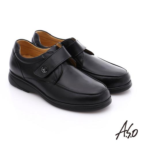 A.S.O 職人通勤 真皮寬楦魔鬼氈氣墊紳士皮鞋(黑)