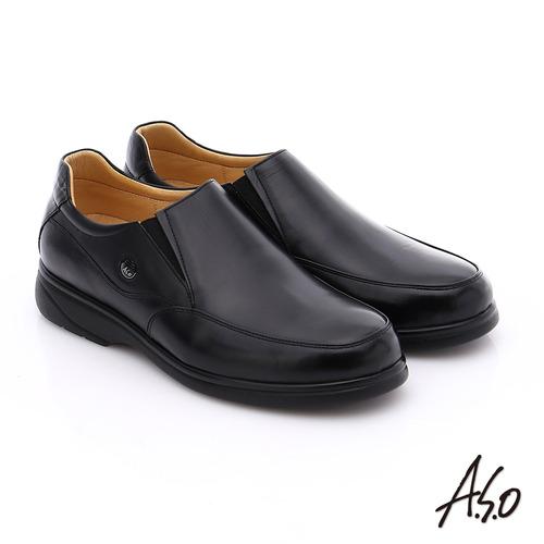 A.S.O 職人通勤 真皮寬楦直套式氣墊紳士皮鞋(黑)