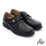 A.S.O 超能耐 魔鬼氈真皮寬楦奈米皮鞋(黑)