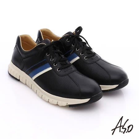 A.S.O 輕量抗震 真皮條紋配色活力休閒鞋(黑)
