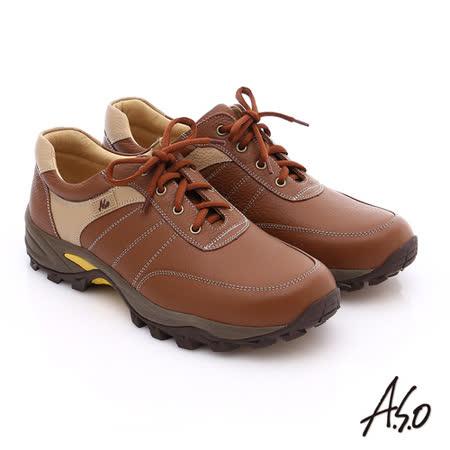 A.S.O 前彈性後避震II 壓紋真皮綁帶奈米休閒鞋(茶)