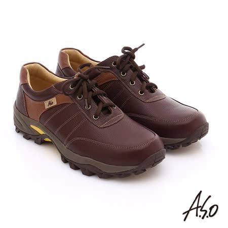 A.S.O 前彈性後避震II 壓紋真皮綁帶奈米休閒鞋(咖啡)