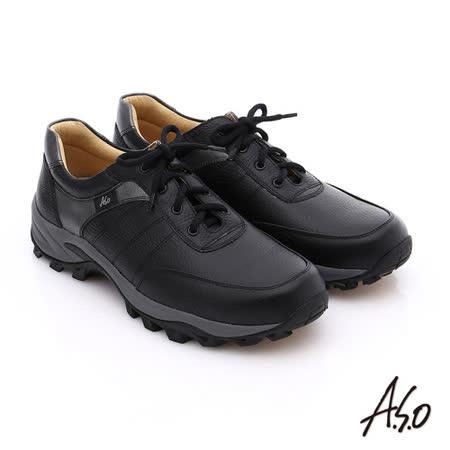 A.S.O 前彈性後避震II 壓紋真皮綁帶奈米休閒鞋(黑)