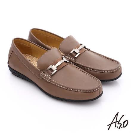 A.S.O 輕量抗震 雅痞牛皮直套式休閒皮鞋(卡其)
