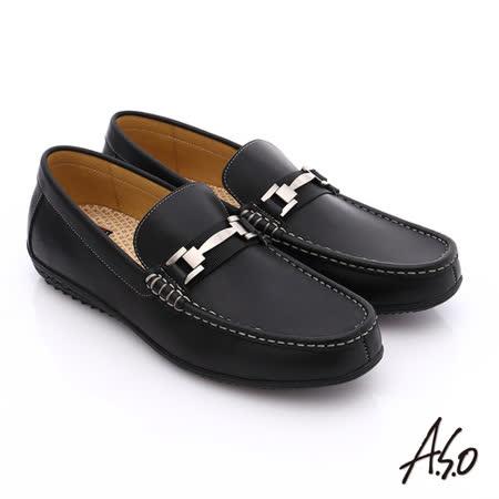 A.S.O 輕量抗震 雅痞牛皮直套式休閒皮鞋(黑)