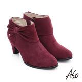 A.S.O 優雅美型 絨面羊皮水鑽蝴蝶結粗跟短靴(酒紅)