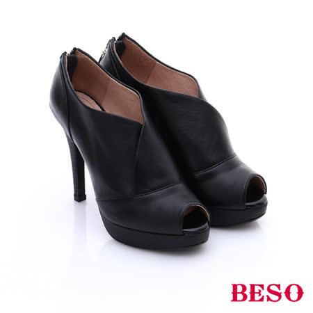 BESO 都會摩登女郎 個性素面後拉鍊魚口高跟鞋(黑)