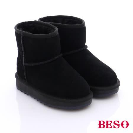 BESO 潮人街頭風 絨面真皮素面兒童雪靴(黑)