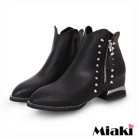【Miaki】踝短靴首爾帥氣鉚釘側拉鍊低跟包鞋 (黑色)