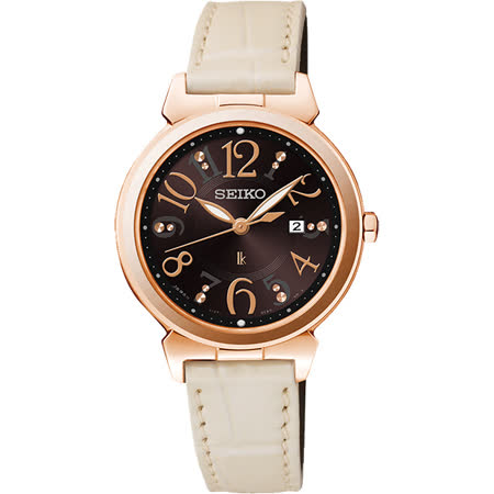 SEIKO LUKIA 太陽能甜美時尚腕錶-咖啡x米白/30mm V137-0BF0D(SUT188J1)