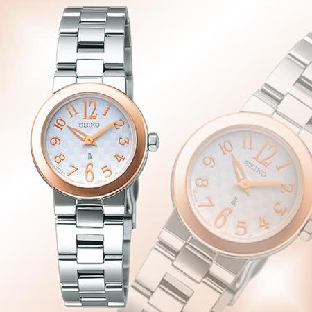 SEIKO LUKIA 天使情人太陽能女錶-銀白x玫瑰金 V110-0AT0KS(SSVR002J)