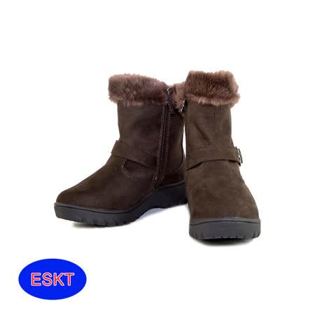 ESKT 女短筒雪鞋SN211/城市綠洲(雪靴 防潑水 防雪 刷毛 麂皮 冰爪)