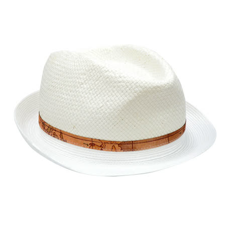 Alviero Martini 義大利地圖包 編織紳士帽-白色