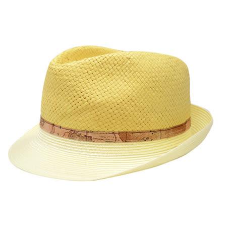Alviero Martini 義大利地圖包 編織紳士帽-杏色
