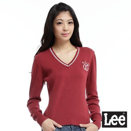 Lee 【Preppy Sport】校園風 針織長袖V領衫-女款(暗紅)