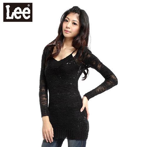 Lee 激情派對 V領長版亮片橫條點綴摟空針織衫-女款(黑)
