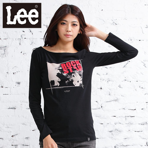 Lee 長袖平領T恤 文字照片印刷圖案~女款^(黑^)