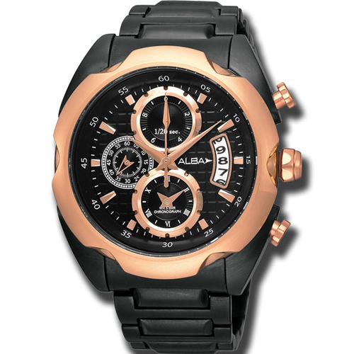 ALBA FLAGSHIP 日魂三眼計時腕錶(YM92-X165O)-玫瑰金