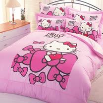 【享夢城堡】HELLO KITTY 蝴蝶結系列-精梳棉單人床包涼被組(粉)