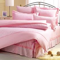 【享夢城堡】HELLO KITTY 優雅緹花系列-精梳棉雙人床包涼被組