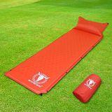 APC全平面可拼接自動充氣睡墊(帶頭枕)-桔紅色