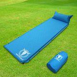 APC全平面可拼接自動充氣睡墊(帶頭枕)-藍色