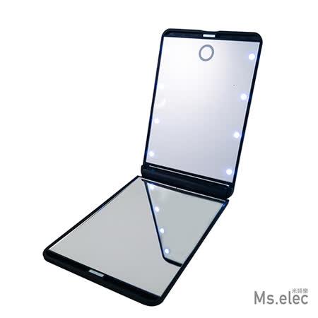 【Ms.elec米嬉樂】LED觸控口袋化妝鏡 - 黑
