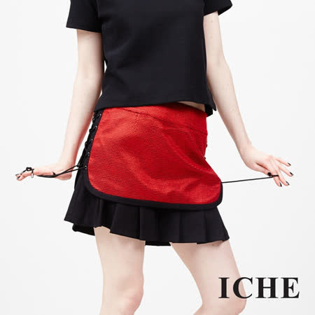 ICHE衣哲 馬甲式綁帶拼接造型裙