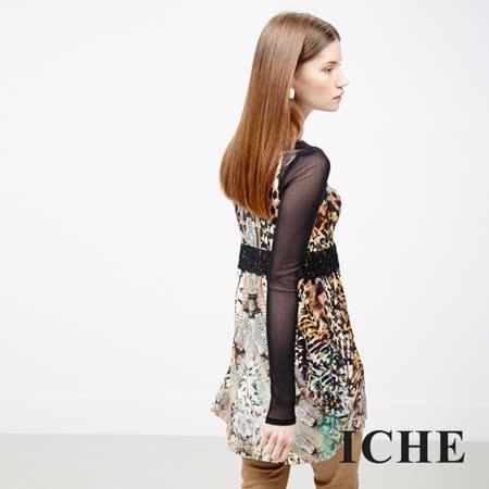 ICHE衣哲 蕾絲豹紋印花長版上衣