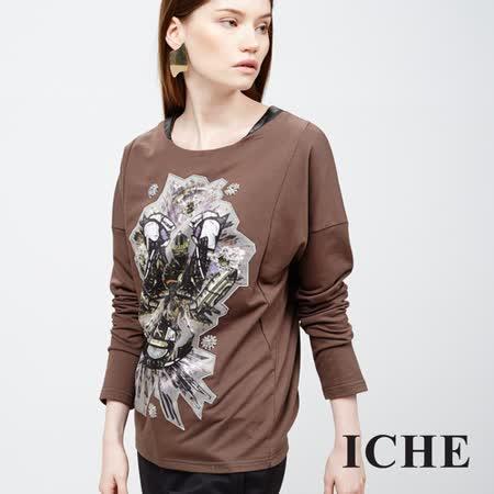 ICHE衣哲 圖騰圖紋寬長袖造型上衣