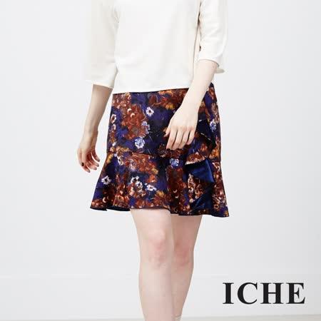 ICHE衣哲 荷葉疊層花版造型裙