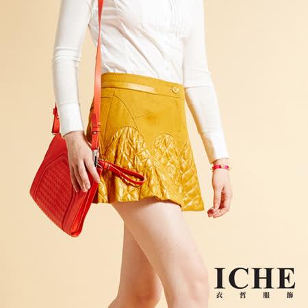 ICHE衣哲 羊毛拼接銜縫造型短裙