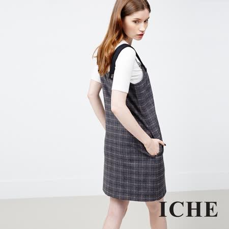 ICHE衣哲 羊毛格紋吊帶洋裝