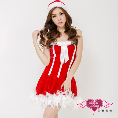 【天使霓裳】聖誕 毛毛滾邊平口洋裝耶誕服 角色服(紅F)