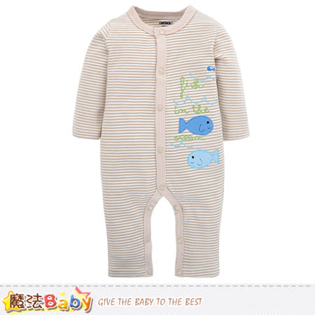 魔法Baby 包屁衣 純棉舒適寶寶長袖連身衣 k60252