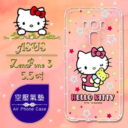 三麗鷗授權 Hello Kitty 凱蒂貓 ASUS ZenFone 3 5.5吋 ZE552KL 彩繪空壓手機殼(星星)