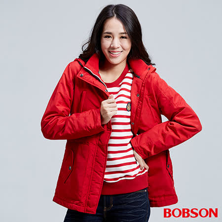 BOBSON 女款防風FLEECE配色中長外套(36104-13)