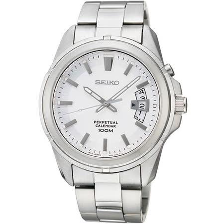 SEIKO CS 尊爵萬年曆時尚腕錶-銀/40mm 6A32-00W0S(SNQ129P1)