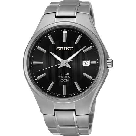 SEIKO Solar【鈦】都會先鋒時尚腕錶-黑x銀/40mm V157-0BB0D(SNE377P1)